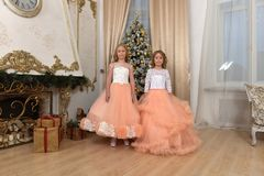 two young sisters in white with peach dresses stock photos