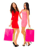 Two young smiling girls with bags Royalty Free Stock Photos