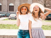 Two Young Smiling Hipster Blond Women In Summer White T-shirt Clothes Royalty Free Stock Image