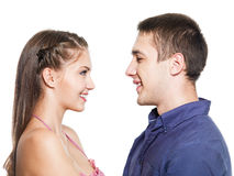 Two young smiling people dating Stock Image