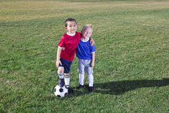Two Young Soccer Players on the field stock photo