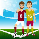 Two young soccer players friends Stock Image