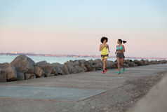 Two young sportswomen running together and talking Royalty Free Stock Photo