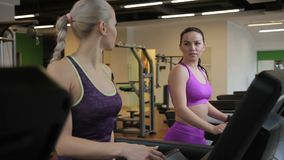 Two young sportswomen are walking on the treadmill in modern gym. Female friends are talking to each other and smiling while exersising in cardio zone stock video