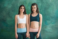Two young sporty women posing at gym. Royalty Free Stock Image