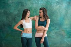 Two young sporty women posing at gym. Stock Image