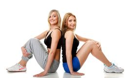 Two young sporty women after workout Stock Photography