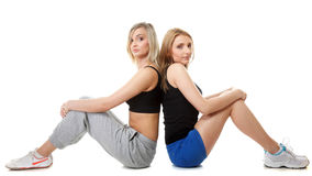 Two young sporty women after workout Royalty Free Stock Photo