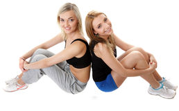 Two young sporty women after workout Royalty Free Stock Photography