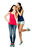 Two young  stand women whisper to each other Royalty Free Stock Images