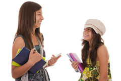Two young student sisters stock image