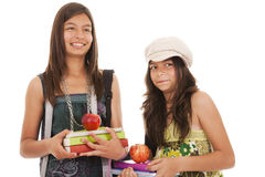 Two young student sisters royalty free stock photo