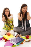 Two young student sisters Royalty Free Stock Image