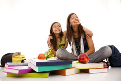 Two young student sisters Royalty Free Stock Photography
