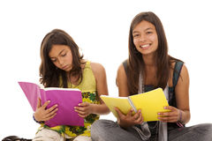 Two young student sisters Royalty Free Stock Images