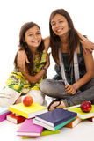 Two young student sisters Stock Photo
