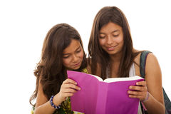 Two young student sisters Royalty Free Stock Photos