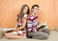 Two young students with books Royalty Free Stock Photos