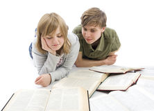 The two young students isolated on a white Stock Photos