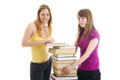 The two young students isolated on a white stock photography