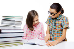 Two young students learning Stock Photography