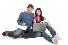 Two young students studing Royalty Free Stock Photography