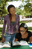 Two young students study at the park. Two black teen study their books at the park, the older girl is helping the younger girl Royalty Free Stock Images