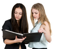 Two young successful girl Stock Photo
