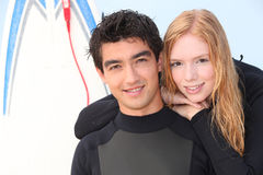 Two young surfers Royalty Free Stock Images