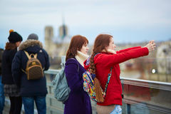 Two young tourist in Paris Royalty Free Stock Photography