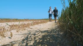 Two young tourists are walking along a sandy beach overgrown with reeds. stock footage