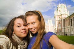 Two young travelers Stock Image