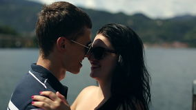 Two Young valentine People Boy and Girl are Holding Hands. Italy, August 2015 in Arona City HD Slow motion stock footage