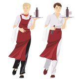 Two young waiters Stock Photos