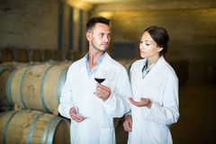 Two young wine expert working with wine sample Royalty Free Stock Photo