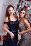 Two young woman in a beautiful dress at studio Royalty Free Stock Image