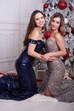 Two young woman in a beautiful dress at studio Stock Photography