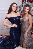 Two young woman in a beautiful dress at studio Stock Image