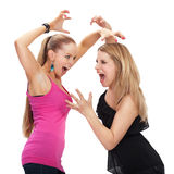 Two young woman in conflict Stock Photo