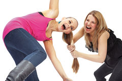 Two young woman in conflict Stock Photos