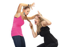 Two young woman in conflict Stock Photography