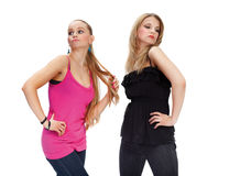 Two young woman in conflict Stock Images