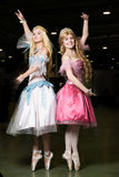Two young woman cosplayer wearing beautiful dres Royalty Free Stock Photos