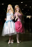 Two young woman cosplayer wearing beautiful dres Royalty Free Stock Image