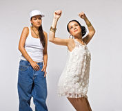 Two young woman dance Royalty Free Stock Image