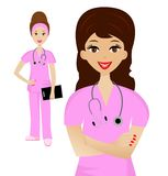 Two young woman doctor on white background Royalty Free Stock Photo
