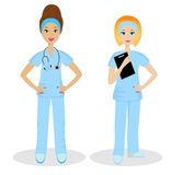 Two young woman doctors on white background Stock Images
