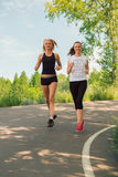 Two young woman doing sports outdoors in a park on sunny summer. Two young women doing sports outdoors in a park on sunny summer day. Girls in sportswear Stock Image