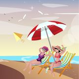 Two young woman friends at beach royalty free illustration