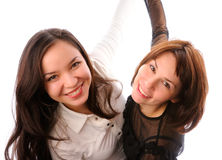 Two young woman having fun. Portrait of a young women expressing positivity Stock Photos